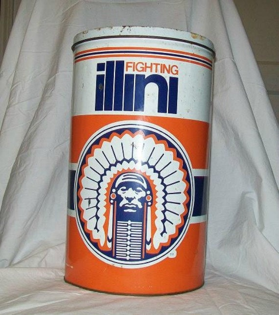 Vintage Tin Can w/ LID University of illinois-  Sports Memorabilia