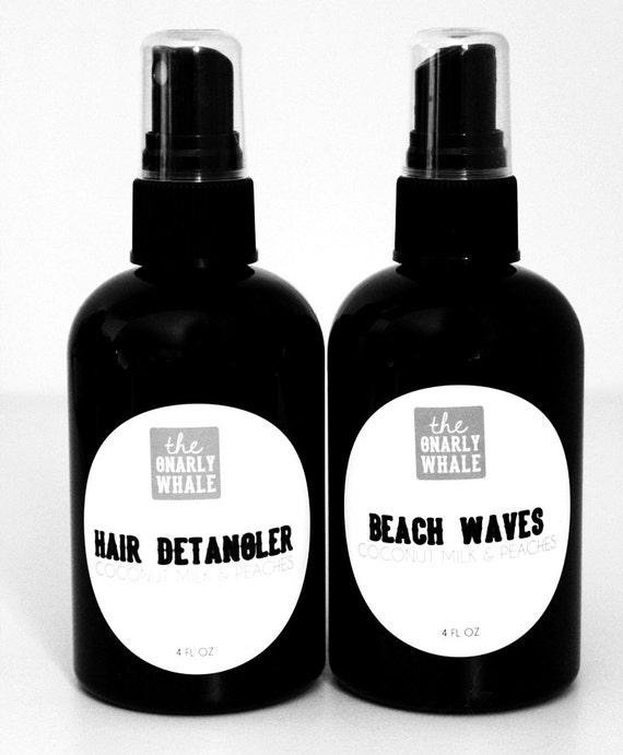 Detangler and Beach Waves: Choose Your Scent - Vegan - Two 4 oz Bottles