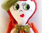 Hand Embroidered Soft Cloth Doll. Custom made Rag Doll. Art Cloth Doll with Handmade Custom Doll Clothes and Felt Hat Accessory
