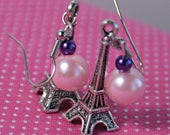 OOAK Tibetan Silver Eiffel Tower Charm Beaded Earrings