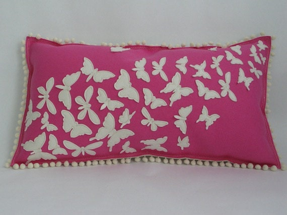 butterfly pillow in hot pink and white by cheekymonkeyhome on etsy. Black Bedroom Furniture Sets. Home Design Ideas
