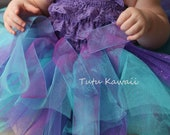 5pc-Aqua and Purple Shimmer Ribbon Glitter Infant Tutu Outfit/ Matching Romper, 2 Flower Headbands, and Wings, Baby Tutu, FREE SHIPPING - TutuKawaii