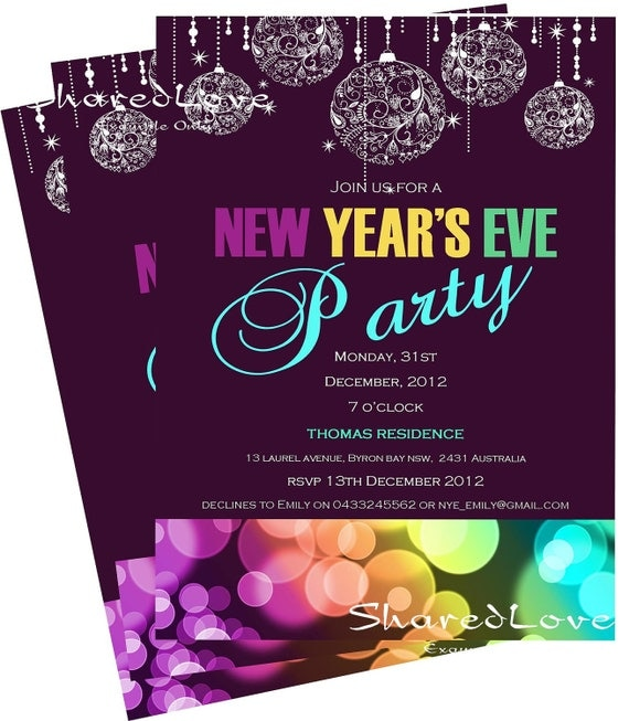 New Year's Eve Party Invitation Deep Purple