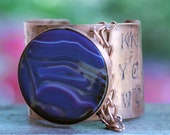 Chunky Cuff bracelet w/ Chain-Purple Agate Handstamped Cuff-Inspiration-Customize-Personalize