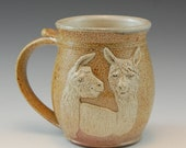 Alpaca or Llama Clay Drinking Mug -Handmade and Salt Kiln Fired - SaltKilnCreations