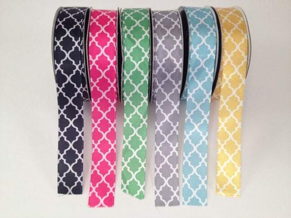 "Quatrefoil Satin Ribbon - 5/8"" x 5 yards - Lattice - Choose the Color -  Black, Pink, Green, Grey, Blue, Yellow & White"