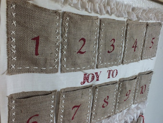 ADVENT CALENDAR BURLAP  Christmas tradition, Hand Crafted, Hanging,  Ready to ship and use
