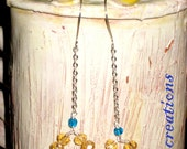 SALE 10% Off Yellow blue glass crystal silver chain drop dangle earrings jewelry gift