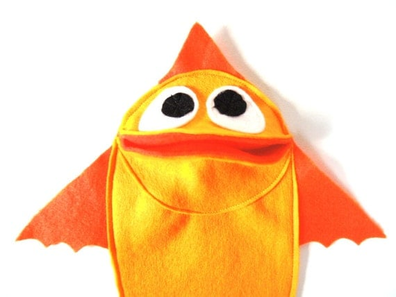 GoldFish Hand Puppet  Kids Toy Eco Friendly Eco-fi Felt Childs Animal Orange Fish