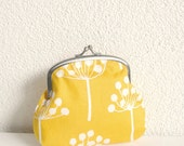 Small Clasp Purse - White Dandelions on Yellow - blota