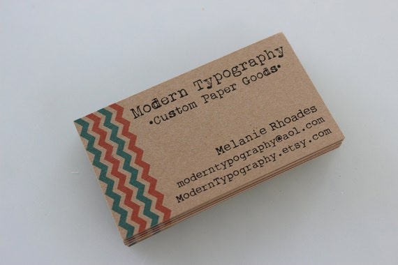 Chevron Kraft Brown Business Cards with Fall 2012 Pantone Bright Modern Colors - Set of 100