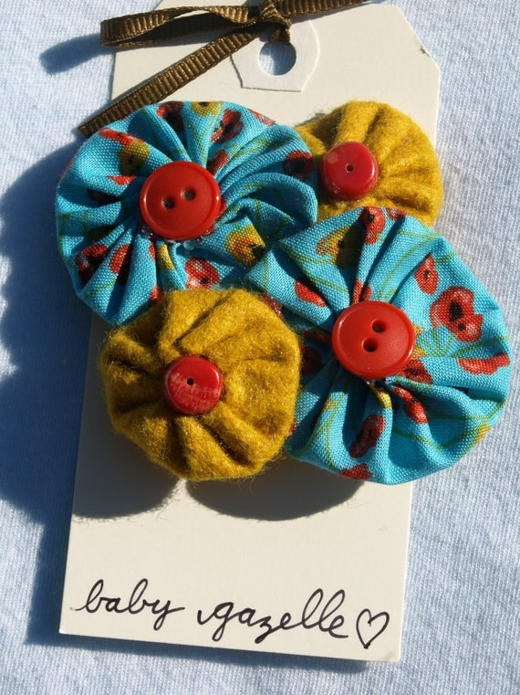Felt and fabric flowers brooch pin accessory poppy print