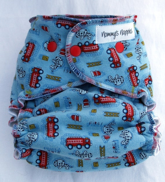 Nommy's Nighttime Hybrid Fitted Pocket Nappy - Red firetrucks & dalmatians on blue