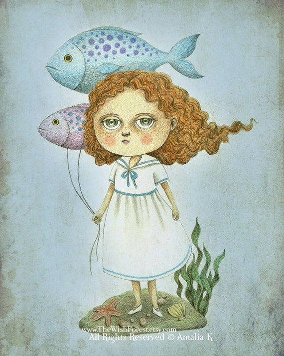 Cute Fish Balloons Whimsical Illustration, Repsroduction Digital Print, Children Nursery Art - Fish Balloons by Amalia K 8x10 inches