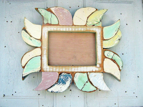 Reclaimed Wood Mosaic Handmade 5x7 Picture Frame Original Design