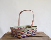 Vintage Rustic Woven Basket / Sunwashed Hues / Green Purple and Pink / Fall Harvest - GingerRootVintage