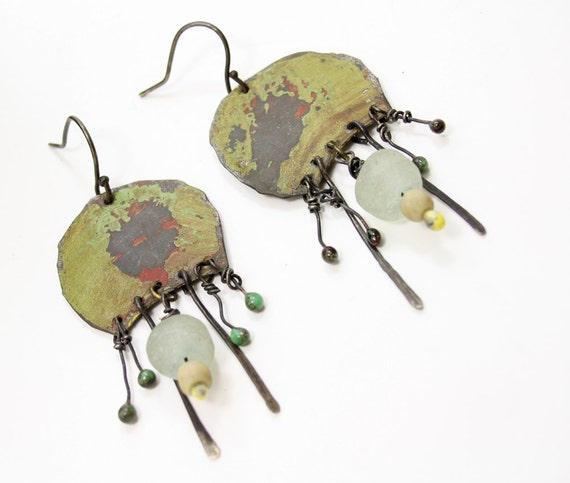 recycled tin tribal earrings with recycled glass beads