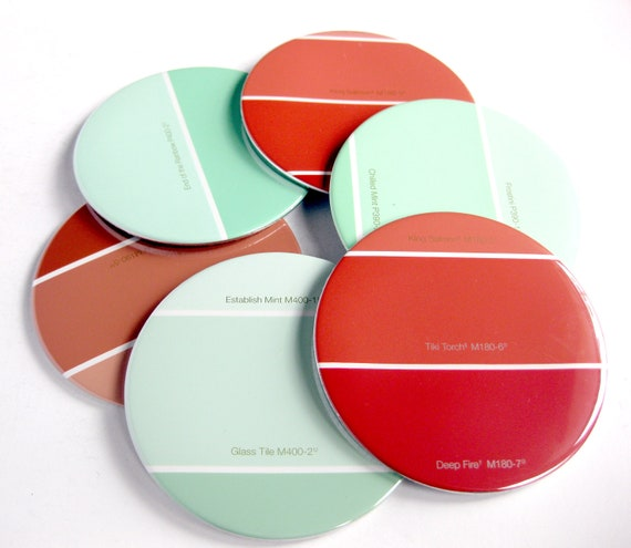 Mint & Coral Home Decor // Coasters // Choose Your Color  // Recycled Paint Sample