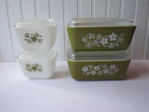 Vintage Pyrex Primavera Blossom Green White Dish Frigorífico Floral Conjunto de Quatro