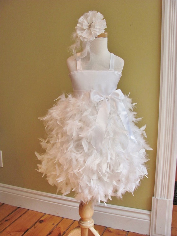 Flower Girl Dress -  Feather Dress - Swan,  Solid Bodice - Made to Order Girls Sizes - Girls Sizes - 5, 6, 7, 8