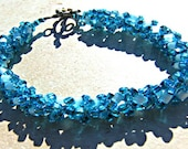 Christmas in July Turquoise Beadwork Bracelet Right Angle Bracelet CIJ XMAS in July - Lusmysticjewels