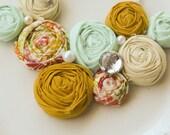 NETTIE  -  Mint, cream, mustard and floral rosette bib statement necklace
