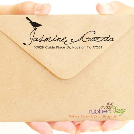 Bird Rubber Stamp. Personalized Return Address Stamp, Save The Date, Your Shop Name, Thank You Stamp, RSVP (1024)