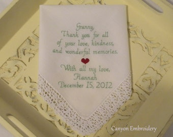 Grandma Gift Personalized Wedding Handkerchief Embroidered Keepsake by Canyon Embroidery