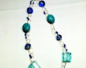 Long Crocheted Wire Turquoise and Mixed Blues Necklace by 2CarasCreations