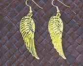 Large Gold Metal Wing Earrings