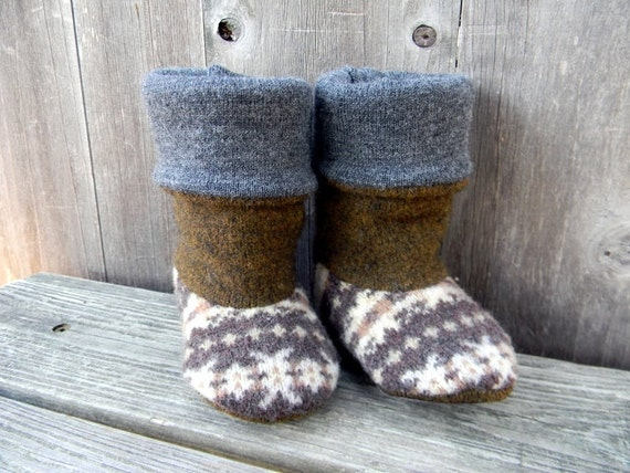 Upcycled Wool Baby Booties Boots Brown/Ivory With Pattern Cooper Brown/Gray With Suede Soles 6-9M Eco Friendly