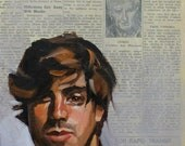 "Marshall Law, 10""x8"" oilpaint and newspaper on masonite panel  by Kenney Mencher"