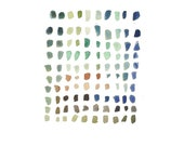Sea glass watercolor painting Abstract painting modern home decor soft pastel color ooak 9 x 12 Appartement living room decor - LouiseArtStudio