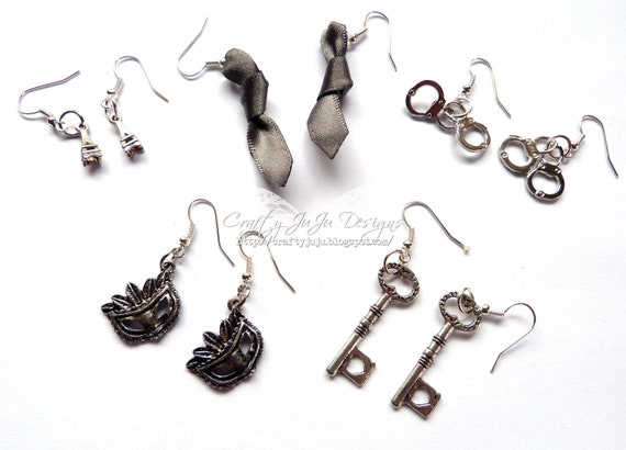 50 Shades Of Grey Inspired Earrings