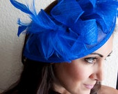 "Royal Blue Fascinator - ""Penny"" Mesh Hat Fascinator with Mesh Ribbons and Royal Blue Feathers - EyeHeartMe"