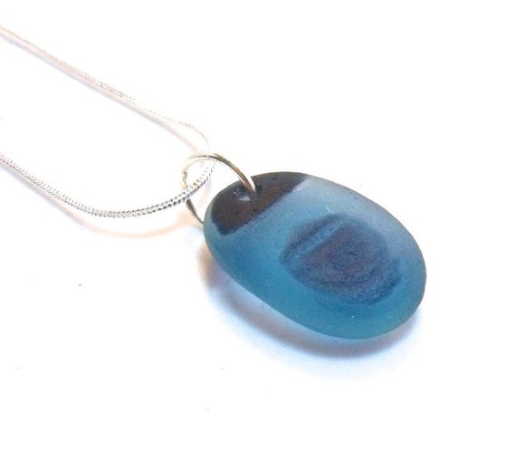 Sea Glass Necklace - Extremely Rare Blue Maine Sea Glass Multi