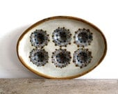 Vintage Mexican Ceramic Tray - Ken Edwards Pottery, Gray with Blue Design - SnapshotVintage