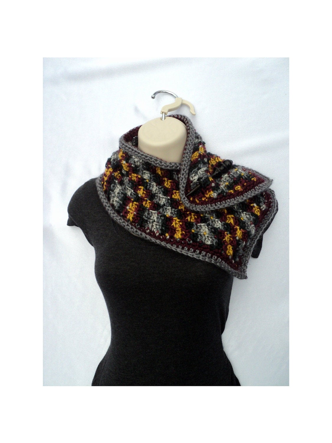 Crochet Patterns Neck Scarves : CROCHET PATTERN Popcorn Scarf Neck Warmer Wrap By Rusticcove