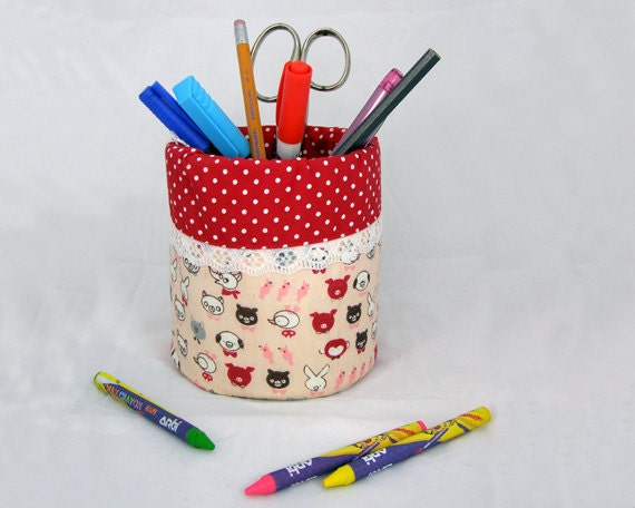 Pencil Holder / organizer - Recycled Tin Can - Pink and Red Polka Dots - 100% Cotton fabric - Back to School