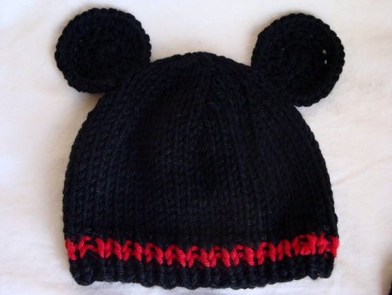 Mickey OR Minnie Inspired Baby Beanies - Hand Knit Mouse Hat
