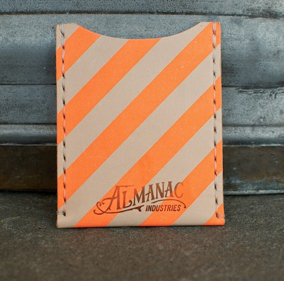 Leather Card Case / Wallet - Neon Orange