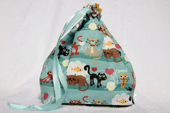 Knitting project bag- kitties