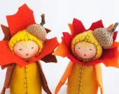 Thanksgiving Table Decor -  Twin Felt Dolls Autumn Acorn - Fall Colors - GigiInStitches