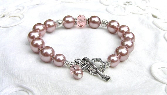 Bracelet PINK Pearls Crystal Silver Filigree & Ribbon Clasp with Charm by Mind4Design