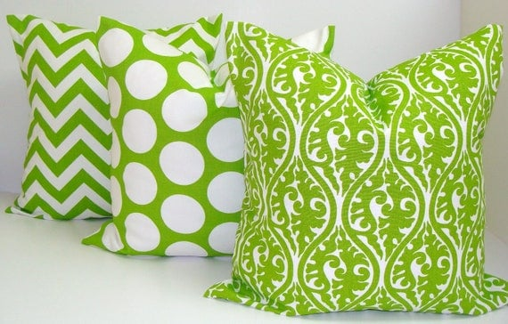 Green Pillow Three Piece Set.18x18 inch.Decorator PillowCover.Printed Fabric Front and Back.Damask.Chevron.Polka Dot