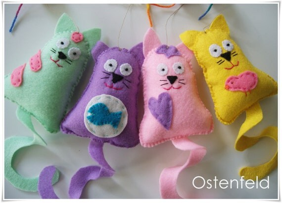 Felt mobile for kids, - hanging decor, cats, baby mobile
