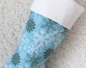 Blue Christmas Stockings with White and Green Snowflakes - stockingsaso