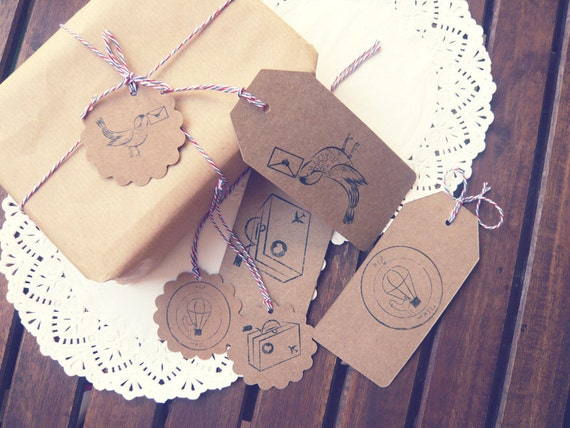 Gift Tags - Hang Tags - Air Mail - wedding Tags - Tags - Kraft Gift Tags