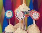 "Printable 2"" Party Circles- Rainbow Collection"