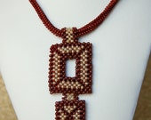 Beaded beige brown seed bead necklace, fall colors, OOAK jewelry